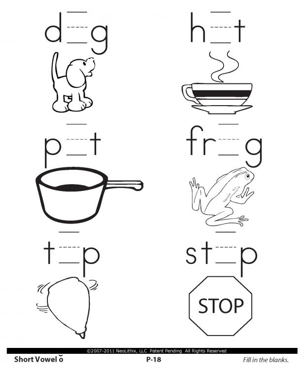 Sample 1st Grade Language Arts Short Vowels
