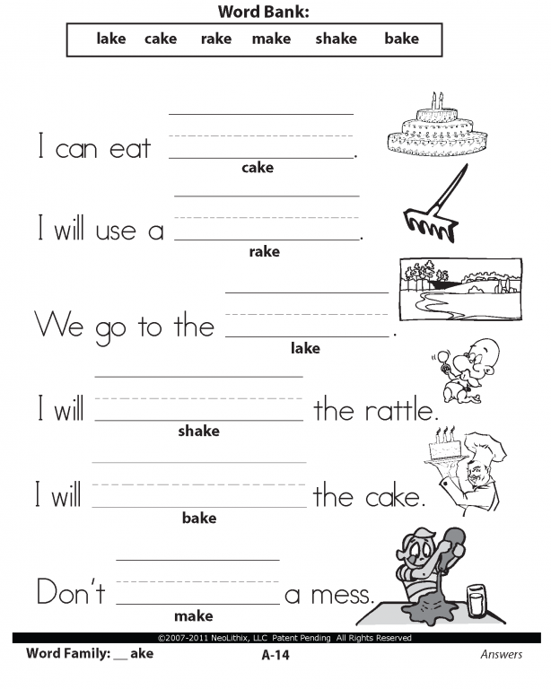 Printable Word Family Worksheets : Sample st grade language arts word families