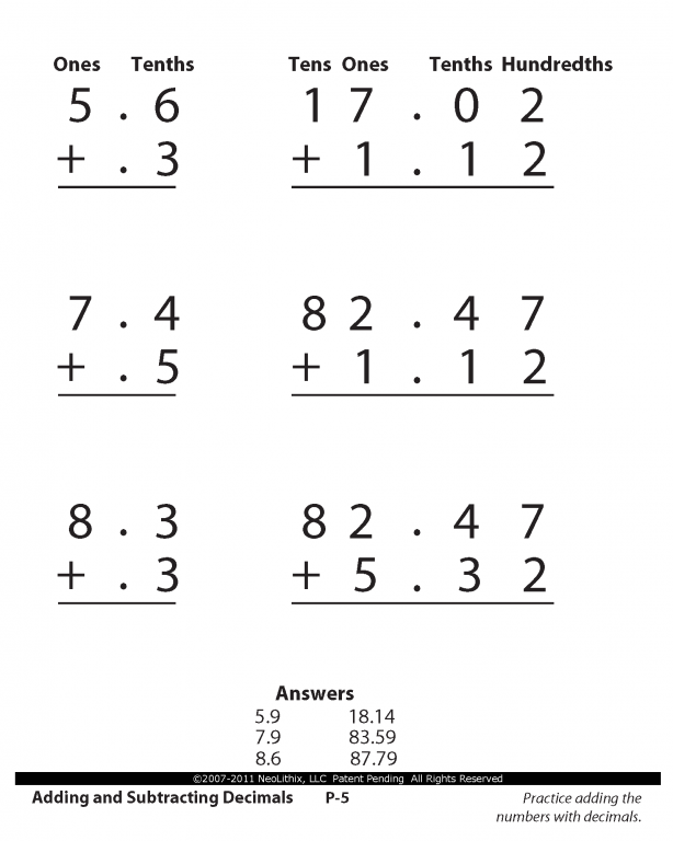 4th grade math worksheets decimals