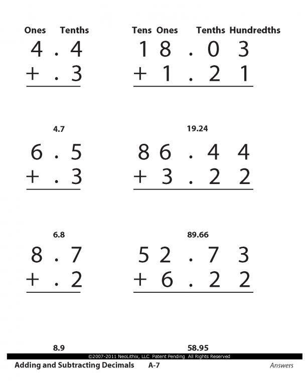 Math Worksheets » Math Worksheets Adding And Subtracting Decimals ...